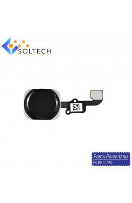 TASTO HOME BUTTON COMPLETO FLAT FLEX PER IPHONE 6S BOTTONE NERO BLACK