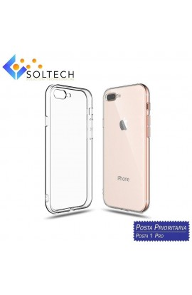 CUSTODIA COVER POSTERIORE IN SILICONE TRASPARENTE PER IPHONE 7 PLUS / 8 PLUS